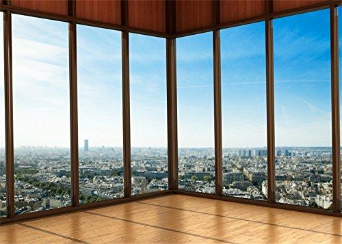 YongFoto 2,2x1,5m telón de Fondo para Sala de Oficina de Nueva York Paisaje Urbano para fotografía Rascacielos Ventana Francesa Piso de Madera desgastada Fondo de para niños Adultos Retratos