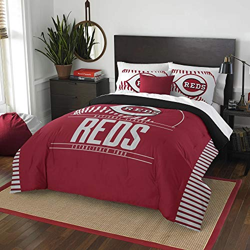 3 Pc MLB Reds Queen Comforter Set, Beautiful American Baseball League Team Logo Boys Bedding Set, Stylish Side Print Bold Color Fun Entertainment Sports Lover Soft Navy Red Comforter Pillow Included