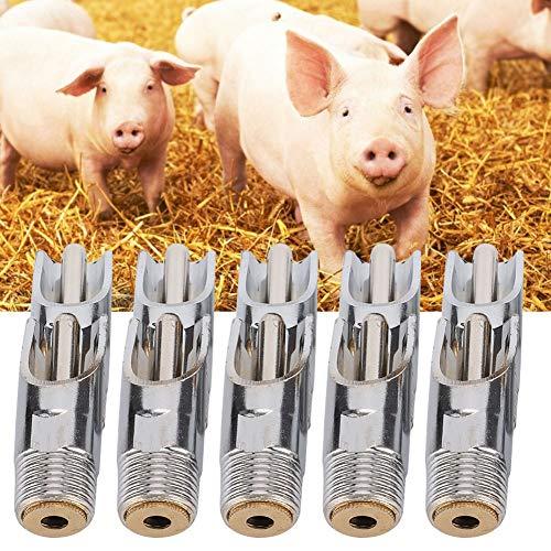 10 Pcs Porc Abreuvoir Porc Mamelon Abreuvoir Mangeoire Automatique Métal Volaille Système D'arrosage Élevage Ferme Canard-Bouche Buse Buveur pour Truies Porcelets
