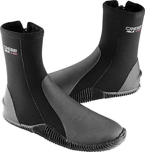Cressi Isla Boots, Calzari per Immersione in Neoprene con Suola 3mm Unisex Adulto, Nero/Logo Rosso/3mm, M
