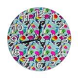 Kncsru Reloj de Pared Redondo Reloj de Pared silencioso sin tictac Sexualidad Ballenas Cocina Interior Decorativa Sala de Estar Oficina Reloj Redondo Moderno Número