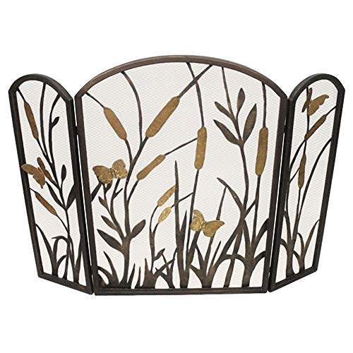 Affordable MY SWANKY HOME Gold Bronze Botanical Cat Tail Fireplace Screen Leaf Butterfly Lake Firesc...