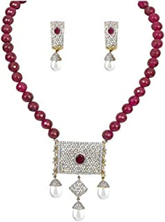 YouBella American Diamond Gold Plated Traditional Necklace Set for Women Party wear Jewellery Set with Earrings for Women