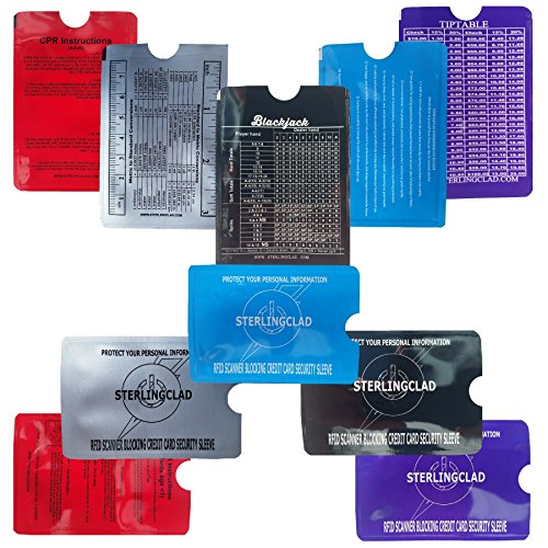 Stocking Stuffers, Credit Card and ID Blocker Sleeves with Math Flash Card, Tiptable, Rulers, CPR, Stop ID Theft- 2 of Each Design. Best Stocking Stuffer