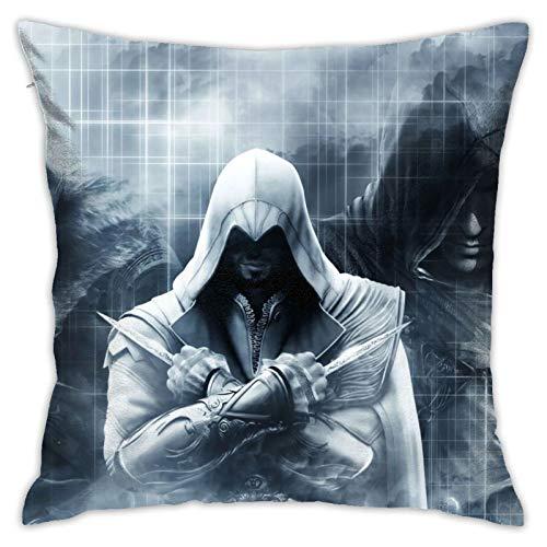 RVEVHGAHHA Assassin's Creed - Funda de almohada súper suave, cuadrada, ligera, decoración del hogar con cremallera invisible, 45,7 x 45,7 cm.