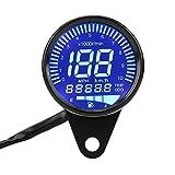 12V LED オートバイ スピードメーター 走行距離計 汎用 デジタルメーター タコメータスピードゲージ … (ブラック)