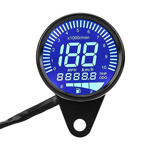Motorrad Kraftstoffanzeige, Fydun Universal Tachometer LED LCD Digital Ölstandsanzeige Drehzahlmesser Kraftstoffanzeige für Fernlicht Leerlauf Motoröl (Schwarz)