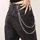 Bomine Hip Hop Pants Jean Chain Goth Punk Silver Trousers Chains Biker Heavy Thick Wallet Pocket Chains Silver Keychains Body Jewelry for Men and Women