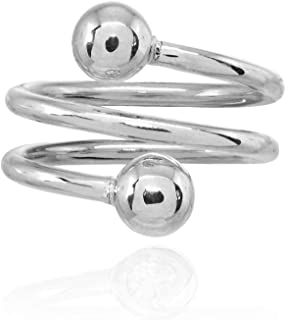 Sterling Silver Bead Spiral Wrap Around Polished Statement Ring