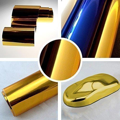 TipTopCarbon 7,89€/m² Chrom Autofolie Gold 0,3m x 1,52m Auto Folie BLASENFREI mit Luftkanälen 3D Flex