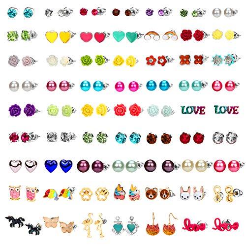 Hicdaw 62 Pairs Girls Earring Hypoallergenic Stud Earrings for Teen Girls Stud Earrings Set Gift for Girls