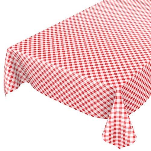 ANRO Wachstuchtischdecke Wachstuch Wachstischdecke Tischdecke Wachstuchdecke Karo Kariert Rot 100 x 140cm