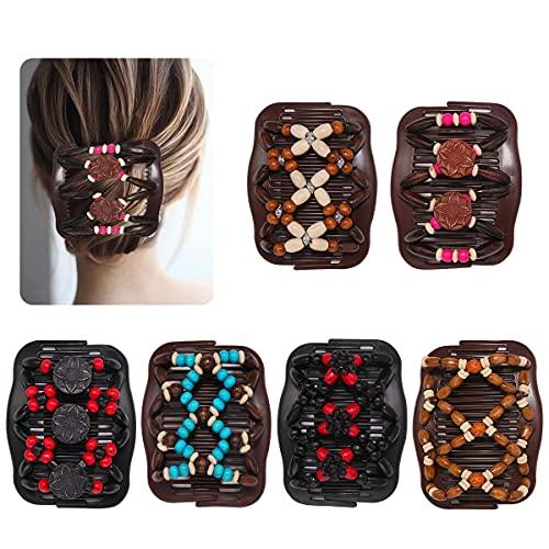 6 Stück Magic Hair Comb,Haarkamm Elastisch Perlen,Haarspange Stretch,Magic Beads,Doppel Haarklammer,Magische Haarspange,Perlen Haarkämme für Damen Mädchen Haarschmuck