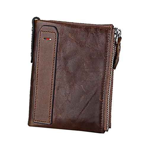 "Men RFID Blocking Wallet Small Vintage Crazy Horse Leather Short Purse Bifold (4.8"" x 3.7"" x 1.1"", Coffee)"