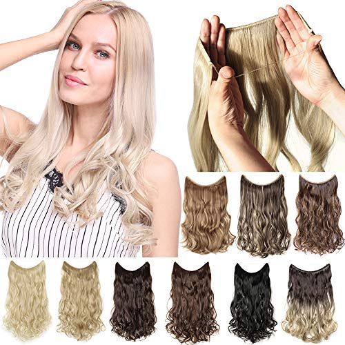 S-noilite Invisible Crown Hair Extensions Secret Transparent Headband Hairpieces No Clip Long Human Made Natural Synthetic Fibre Hair Piece for Women Curly 24 Inch bleach blonde