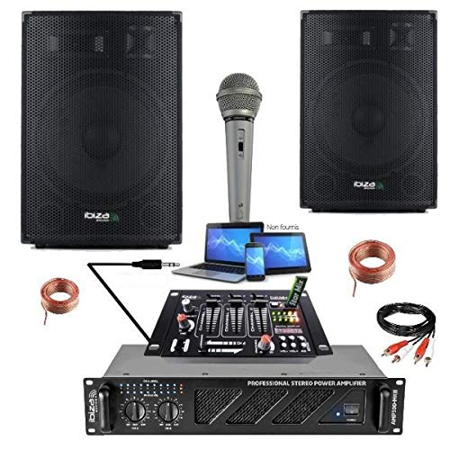 PACK AMPLI SONO + 2 ENCEINTES PRO + TABLE DE MIXAGE + MICRO + CÂBLE PC HP - PA SONO DJ LIGHT - Soirée mariage anniversaire