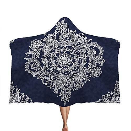 Manta con capucha Mandala, capa gruesa Manta doble de felpa para niños Brújula mágica suave y cálida,D,150 * 200cm