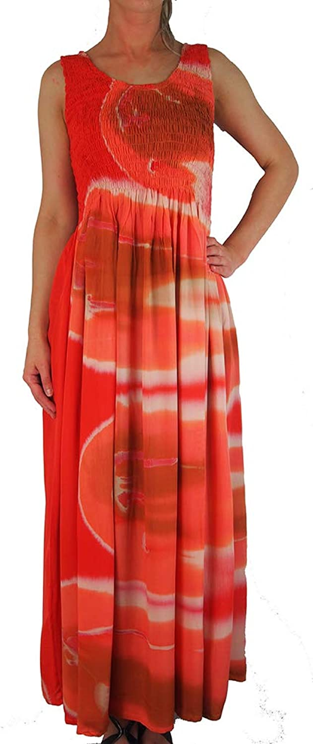 Ikat Ladies Long Summer Flowing Dress with Smocked Top  Fits Sizes 1228