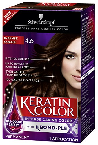 Schwarzkopf Keratin Color Permanent Hair Color Cream, 4.6 Intense Cocoa (Packaging May Vary)