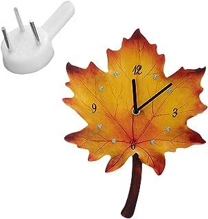 VOSAREA 1 Set Maple Leaves Wall Clock Autumn Maple Silent Non Ticking Decorative Quartz Quiet Desk Clock for Kitchen Home ...