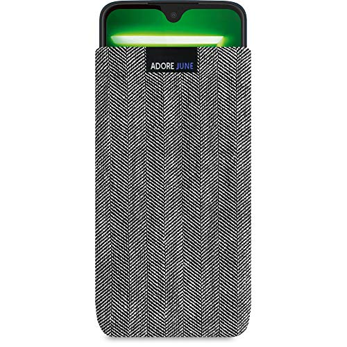 Adore June Business Tasche für Motorola Moto G7 / Moto G7 Plus Handytasche aus charakteristischem Fischgrat Stoff - Grau/Schwarz | Schutztasche Zubehör mit Bildschirm Reinigungs-Effekt | Made in Europe