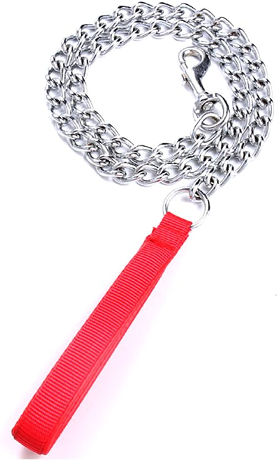 Chain Dog Leash  Dog metal pet leashes with foam Handle (S, Red)