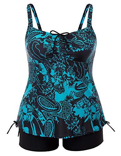 Hanna Nikole Women Plus Size Swimsuit Two Pieces Swimwear Bathing Suit 20W Blue& Black