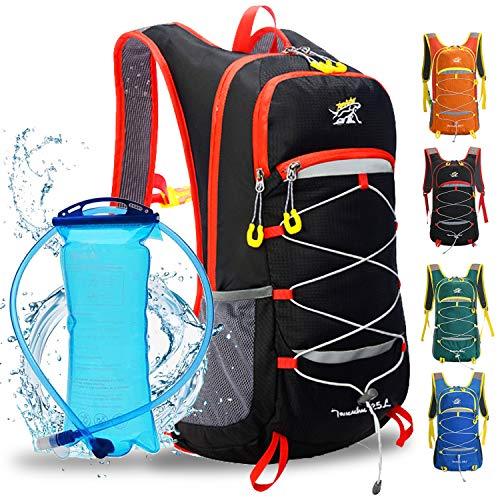 Mochila de hidratación con vejiga de 2 litros, correas acolchadas ajustables para el pecho, equipo perfecto para el aire libre para esquí, correr, senderismo, ciclismo, para hombres y mujeres