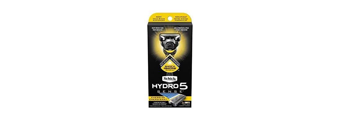 投資リストブリリアントSchick Hydro5 Sense Energize 1 handle + 2 razor blade refills シックハイドロ5 センス?エナジー 本体1個+剃刀刃2個 [並行輸入品]