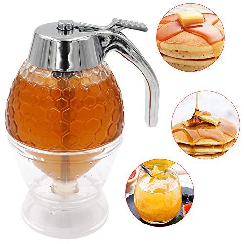 M.Z.A Honing Dispenser Siroop Juice Honing Pot Knijp Fles, 200ML Honing Potje Opslagpot met Trigger Stand, Bakgereedschap Geen Druppel