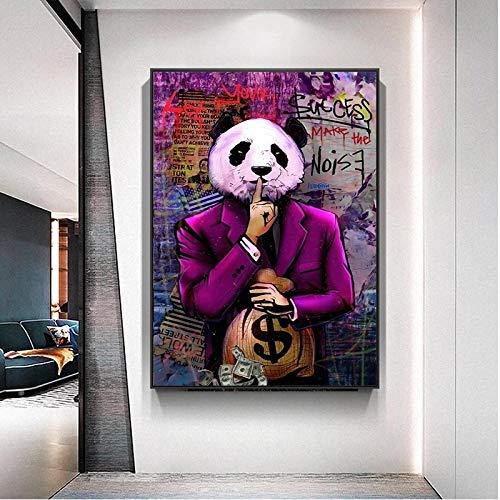 JHGJHK Panda Personaje Arte éxito Dinero Pintura al óleo Cartel Mural Sala de Estar decoración Creativa Pintura 1