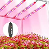 TOPLANET Lámpara de Planta, 40W Lampara Led Cultivo Tubo, T5 Full Spectrum con Luz Azul Roja, 4 PCS Luz Plantas Crecimiento con Temporizador Automático 3/6/12H, 3 Modos Lámpara LED para indoor cultivo