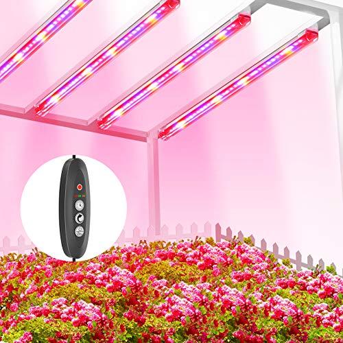 TOPLANET Lampada per Piante, Lampada Led Coltivazione a Tubo 40W T5 Led Full Spectrum con Luce Rossa e Blu, Led Grow Light con Auto Timer 3/6/12H, 3 Modalità di Illuminazione Lampade Led Piante Indoor