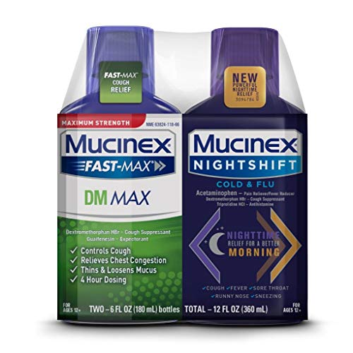 Maximum Strength Mucinex Fast-Max DM Max & Mucinex Nightshift Cold & Flu Liquid (2 x 6 fl. oz.) Thins & Loosens Mucus, Relieves Cough & Chest Congestion, Pain, Fever, Sneezing, Sore Throat, Runny Nose