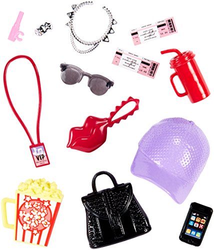 Mattel Barbie Fashions Accessories Range - FKR91 Theatre Evening with Hat, Popcorn, Drinking Cup, Smart Phone, Tickets, Jewellery -