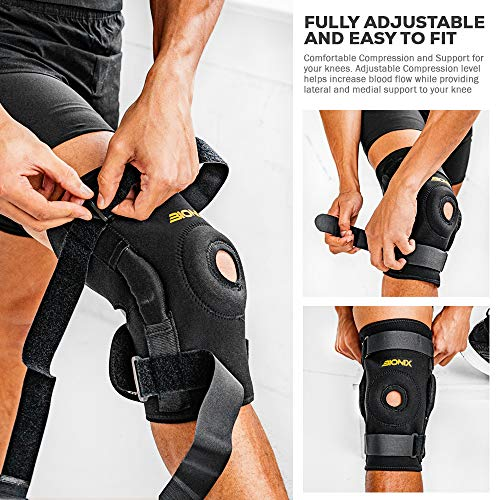 Bionix Hinged Knee Brace Support - Open Patella Stabilizing Wrap Knee Braces Dual Hinges Padded Neoprene Compression Supports Meniscus Tear Ligament Injury Knees Pain Swollen ACL Arthritis (Medium)