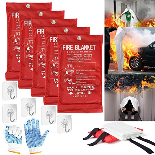 Fire Blanket Fire Suppression Blanket | Fiberglass Fire Blankets Emergency for People Flame Retardant Fireproof Survival Safety Kitchen, Fireplace, Car, Office, Warehouse, 5 Pack (39.3 X 39.3 inch)