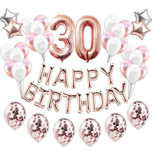 Feelairy 30 Compleanno Decorazione Oro Rosa Set 30° Compleanno Festa Decorazioni, Numero 30 Palloncini Foil Giganti, Happy Birthday Palloncini Ghirlanda, 30 Anni Compleanno per Adulto Donne