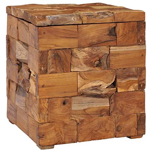 vidaXL Teak Massiv Hocker mit Stauraum Deckel Fußhocker Sitzhocker Holzhocker Sitzwürfel Aufbewahrungsbox Sitztruhe Fußbank Truhe 40x40x45cm