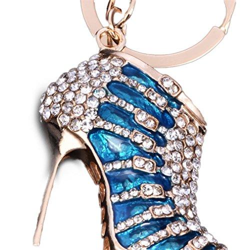 YAZILIND Llavero Anillo Sexy Tacones Altos Zapatos incrustados Rhinestone niñas Accesorios Colgante Colgante Ornamentos (Azul)