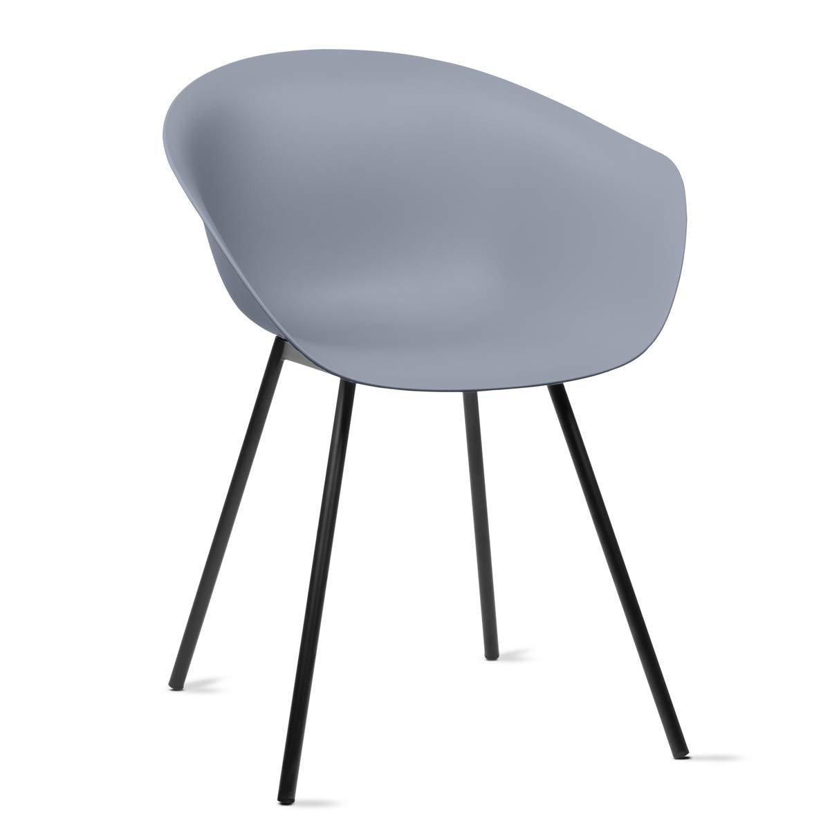 Mc Haus MERAKI - Pack 2 sillas comedor modernas para cocina y salon sillon nordico salon diseño dormitorio escritorio color gris 52x48x76cm: Amazon.es: Juguetes y juegos