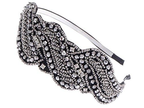 ALILANG Frauen Metallic Geschützmetall Grau Pailletten Perlen Blumen Blatt Strauß Retro Flapper Blitzend Mode Haar Hauptband Haarband Haarreif