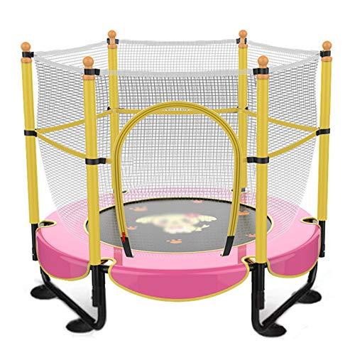 QXTT 5ft Trampoline With Enclosure Kids Trampoline Outdoor With Net Adults Mini Trampolines Fitness Foam Padding Rust-resistant Hot Dip Galvanised Frame Garden Indoor Activities,Pink