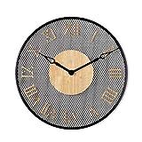 FOLA Reloj de Pared de Metal Restaurante Moderno Reloj silencioso Sin tictac Reloj de Pared Decorativo de 20 Pulgadas Redonda fácil de Leer el Reloj de la casa (Color : Black-Roman Numerals)