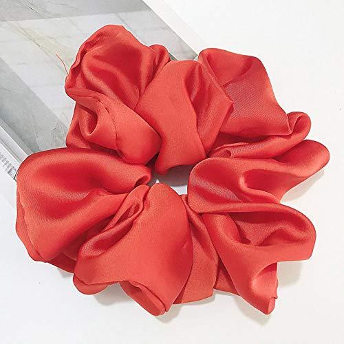 Enormes cintas para el pelo grandes Seda Satén Mujeres Bandas elásticas para el cabello Sombreros Accesorios para el cabello de gasa con cola de caballo-rojo