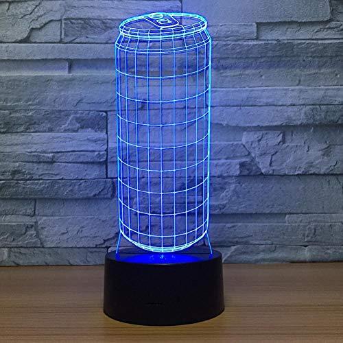 Yujzpl 3D-illusielamp Led-nachtlampje, USB-aangedreven 7 kleuren Knipperende aanraakschakelaar Slaapkamer Decoratie Verlichting voor kinderen Kerstcadeau-Fles frisdrank