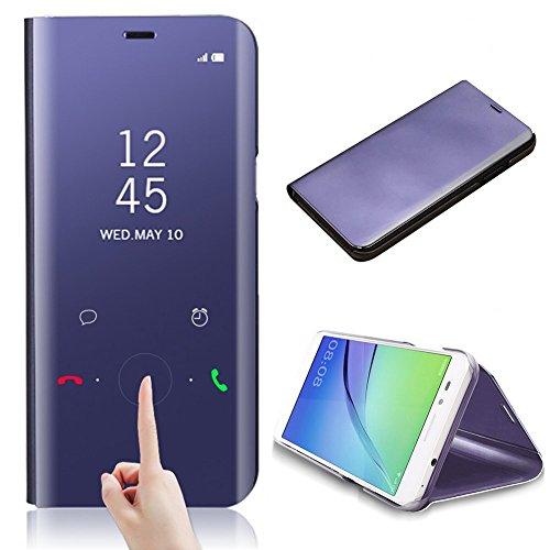 pour Samsung Galaxy S9 Housse Etui, CrazyLemon Date Heure Clair Voir Miroir Flip Cover avec Béquille et Fonction Sommeil Éveil Smart Cover e PC + PU Housse Etui pour Samsung Galaxy S9 - Violet