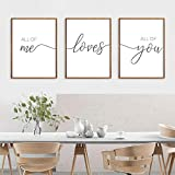 LLXHG All of Me Loves All of You Nordic Minimalist Black and White English Decoration Canvas Painting Living Room Hanging Painting-50X70Cmx3Pcs Sin Marco
