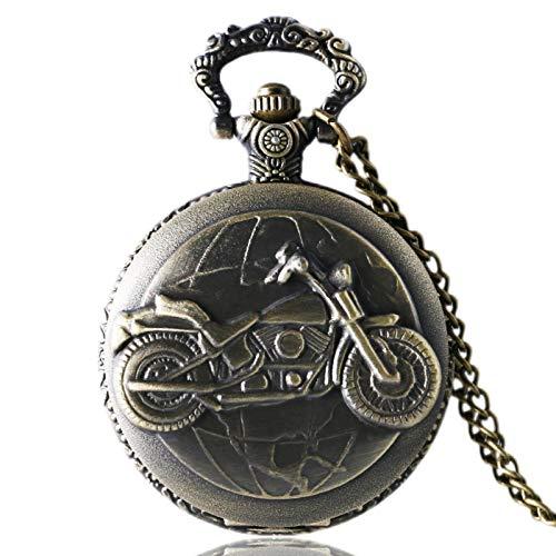 ZMKW Antiguo Bronce Motocicleta Moto Reloj de Bolsillo Collar Colgante Regalo de...