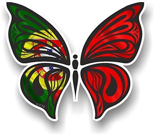 sticker licker Orné Design Papillon avec Portugal Portugais Drapeau Motif Autocollant Vinyle Décalcomanie Voiture 100x85mm